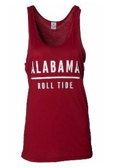 Official NCAA University of Alabama Crimson Tide UA ROLL TIDE! Women's Oversized Rayon Spandex Boyfriend Fit Tank Top