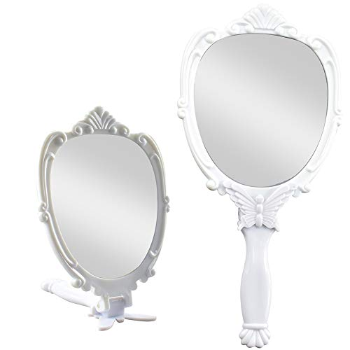 Nerien Plastic Embossed Butterfly Foldable Makeup Handheld Mirror Princess Style Cosmetic Mirror (White)