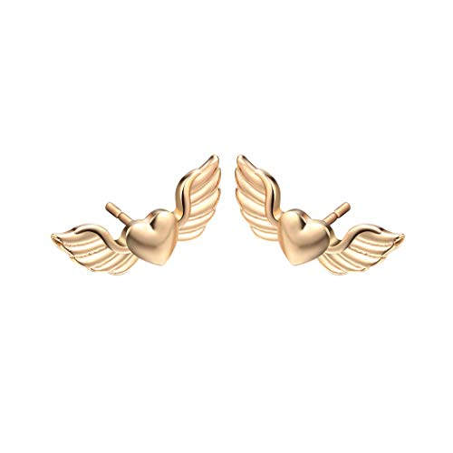 MIXIA Valentine Gift Angel Wing Love Heart Stud Earrings for Women Girls Wedding Jewelry (Gold)