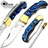 F f Expo Blue Wood 6.5 Handmade Stainless Steel Folding Pocket Knife Brass Bloster Back Lock Top Quality