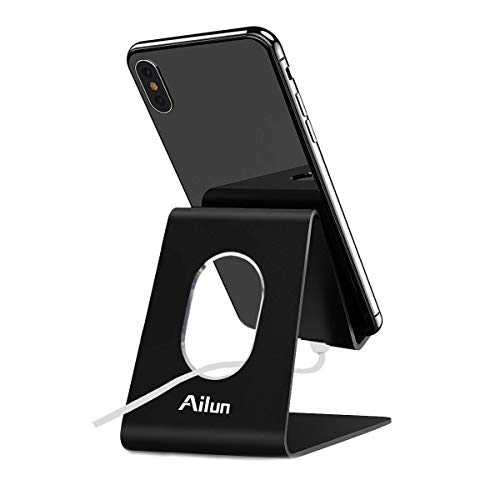 Ailun Cellphone Stand Holder,Cell Phone Dock Cradle,Universal Stand Compatible Witch iPhone X/Xs/XR/Xs Max/8/7/6/6s Plus,Galaxy S9/S9+,s8/s8+ S7/S7 Edge,S6/S6 Edge+ Note 8 9and More[Black]