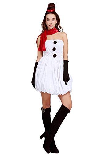 Christmas snowman costume sexy woman strapless dress 88994