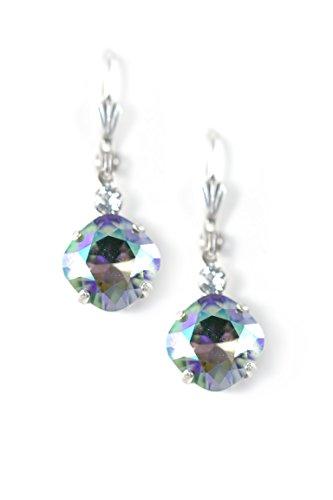 Clara Beau Paradise 10mm Fancy Swarovski Crystal accented Vintage Shell Earrings ES37 SilverTone - Paradise
