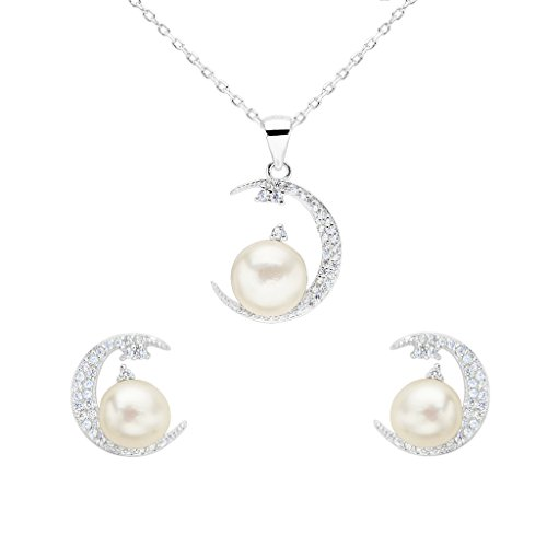EleQueen 925 Sterling Silver CZ AAA Round Button Cream Freshwater Cultured Pearl (Button Pearl Set)