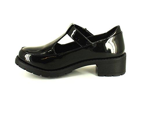 1 13 UK Oberteil mit Größen Kinderschuhe Patent aus schwarzem Schwarzes Barchunky Mädchen Lack Sohle Neue qUBH6gOwx
