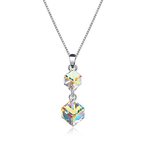 Double Swarovski Crystal Drop Necklace - OSIANA Womens Grils Double Cube Drop Necklace Pendant Fashion Jewelry Necklace Crystal from Swarovski Color Change-Cube-DB