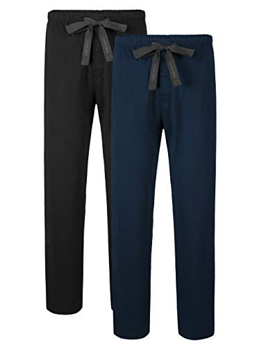 David Archy Men's Comfy Jersey Cotton Knit Pajama Lounge Sleep Pant in 2 Pack(XL, Black/Navy Blue) (Best Lounge Pants Ever)