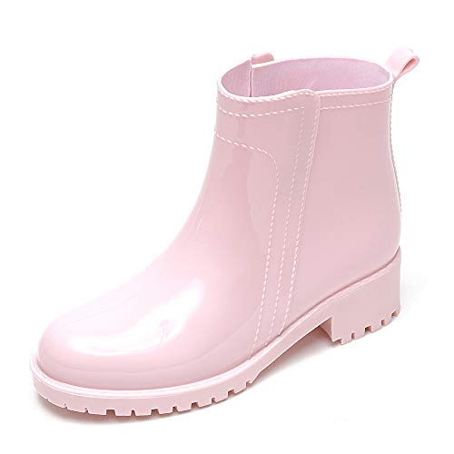 (DKSUKO Women's Short Rain Boots Waterproof Ankle Chelsea Booties(9 B(M) US, Pink))