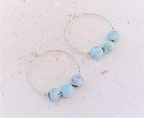 - Sterling Silver Light Blue Larimar Gemstone Hoop Earrings - Jewelry Gift For Women