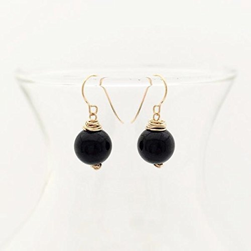 14k gold-filled and black onyx earrings