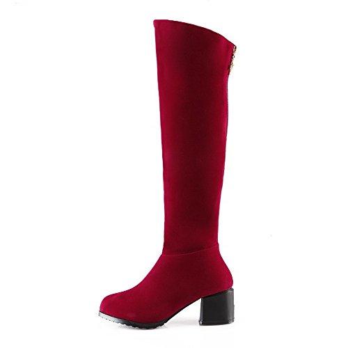 AllhqFashion Damen Hoch-Spitze Ziehen auf Mattglasbirne Mittler Absatz Stiefel, Rot, 35