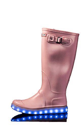 Flashez Light up Ladies Festival Wellies - Fully Rechargeable, Stay Lit 8 Hours, 7 LED Colour Changing Modes Flashing Womens Ladies Girls UK Brand Candy Pink
