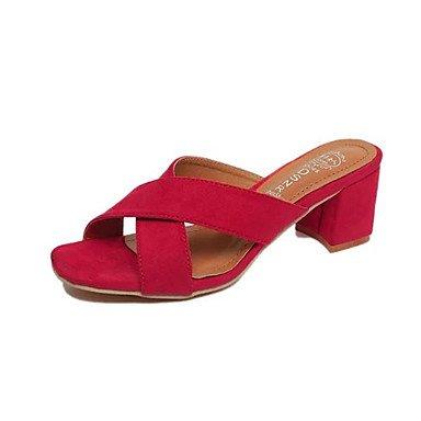 LvYuan Tacón Plano-Confort-Sandalias-Informal-PU-Negro Rojo Red
