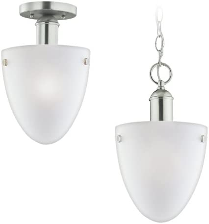 Sea Gull Lighting 51035-962 Metropolis Collection Light-Light Pendant, Brushed Nickel Finish with Satin Etched Glass