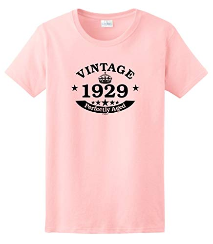 (90th Birthday Party Supplies 90th Birthday Gift Vintage 1929 Perfect Aged Crown Ladies T-Shirt Medium Light Pink)