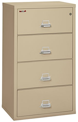 FireKing 43122CPA 31-1/8-Inch by 22-1/8-Inch Insulated 4-Drawer Lateral Letter/Legal File, Parchment