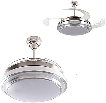 Ventilador de techo mod. Selene con LED incorporado y mando a distancia, 107 cm. acabado cromo y blanco con 4 aspas transparentes, AkunaDecor.: Amazon.es: Hogar