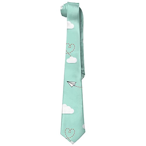 Neckties Paper Airplane Man's Wide Necktie Silk With Skinny Tie Print Necktie Great For Weddings,Groom,Groomsmen,Missions,Dances,Gifts