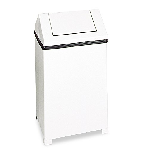 Hinged Top Trash Receptacle - Rubbermaid Commercial T1424ERBWH Fire-Safe Swing Top Receptacle Square Steel 24gal White