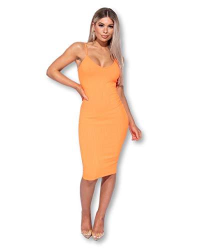 L' Lux Women's Spaghetti Strap Neon Bodycon Cami Dress (Neon Orange, 4)