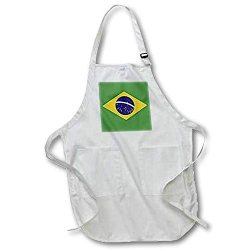 3dRose apr/_37603/_2 Brazilian Flag Order and Progress in Brazil-Medium Length Apron with Pouch Pockets 22 by 24-Inch