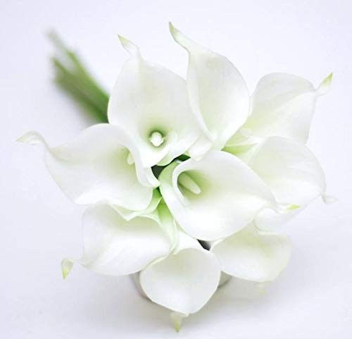 FRP Flowers 20 PCS Real Touch Calla Lily Flowers for Artificial Floral Arrangements, Bridal Bouquets, and Home Decor (White)