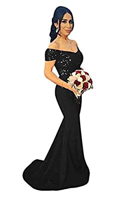 LeoGirl Women's Off Sequins Satin Bridesmaid Dress Mermaid Wedding Party Gown