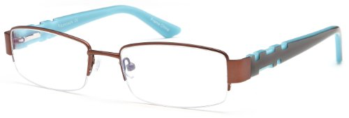 Women's Half Rimmed Brown Glasses Frames Prescription Eyeglasses Size - Eyeglasses Semi Rimless Online