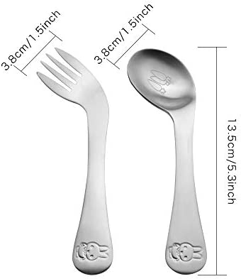 ZYER Children Cutlery Curved Baby Spoon Fork Set Stainless Steel Self-Feeding Spoon/&Fork with Rabbit Easy Grips Baby Spoon Kids Flatware Pack of 2 Pcs Childrens Tableware Toddler Utensils
