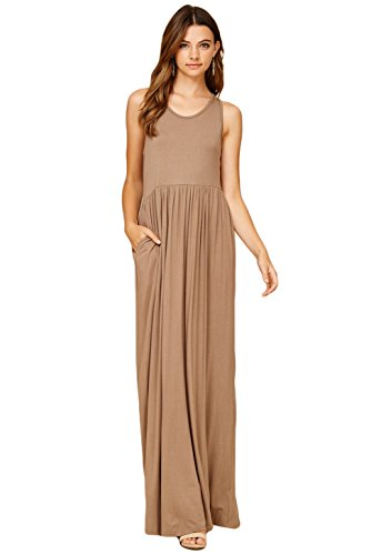 Sleeveless Racerback Top Long Dresses Annabelle Casual Women's Taupe Grey Tank Maxi qTEtt