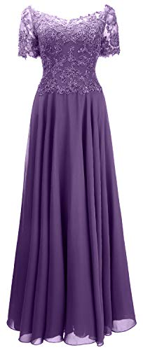 MACloth Women Short Sleeve Evening Formal Gown Lace Mother of The Bride Dress (US10, Purple)