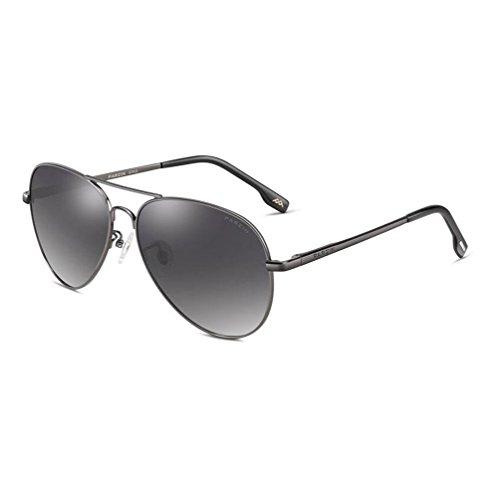 Metal 400 con polarizado Ligero de Hombre Al Marco UV Protección Súper Conducción Black Gafas PARZIN MG de Sol De Grey Aviador qSAxZ8BTw