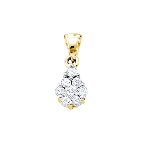 10kt Yellow Gold Womens Round Diamond Flower Cluster Pendant 1/6 Cttw (I1-I2 clarity; H-I color)