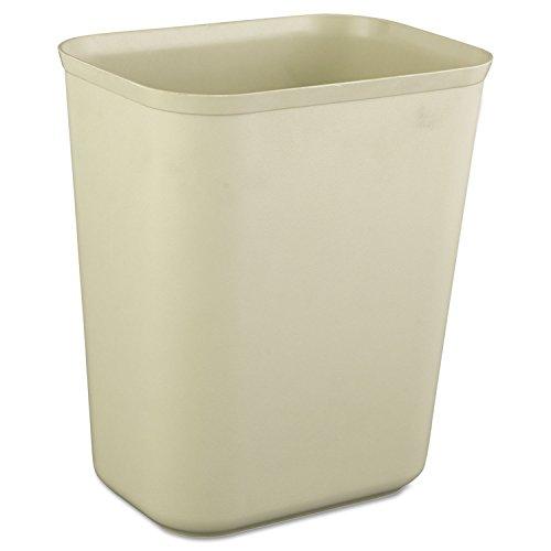 Rubbermaid 2540BEI Fire-Resistant Wastebasket, Rectangular, Fiberglass, 1.75gal, Beige