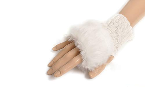 Winter Fingerless Short Touchscreen Gloves Thumb Hole Mittens Knitted Warm Gloves with Faux Fur White from Knight Horse