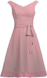ANTS Women's Chiffon V Neck Tank Short Prom Bridesmaid Dresses Sash