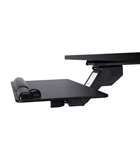 Keyboard Tray with Wood Platform, Just Lift to Adjust Height, Simply Turn Knob to Tilt, Swivels Under Desk, with Gel Wrist Rest and Mouse Pad Adjustable Keyboard Gel Wrist Pad
