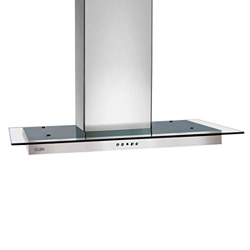 Glen 60 cm 1000 m³/h Straight Glass Wall Mount Kitchen Chimney (6062 SS, Baffle Filter, Push button control, Silver)