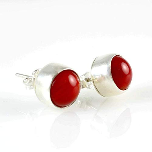 Coral Stud - Sterling Silver Natural Round Red Coral 8mm Birthstone Handmade Stud Earrings