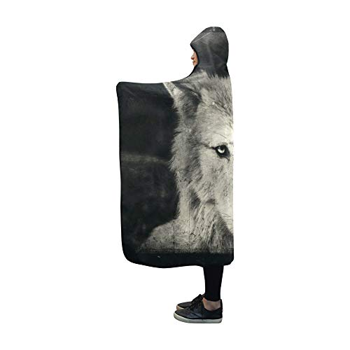 VNASKL Hooded Blanket Awesome Halloween Wallpaper Mystical Wolf Blanket 60x50 Inch Comfotable Hooded Throw Wrap for $<!--$42.00-->