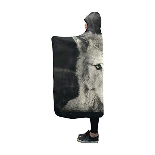 VNASKL Hooded Blanket Awesome Halloween Wallpaper Mystical Wolf Blanket 60x50 Inch Comfotable Hooded Throw Wrap]()