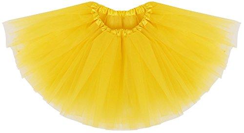 Simplicity Girls' Tutu Ballet Skirts Layer Soft Tulle Dance Dress, Yellow, 2-8 Years -