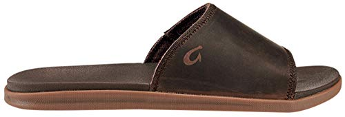 OLUKAI Men's Alania Slide Sandals, Dark Wood/Dark Wood, 12 M US