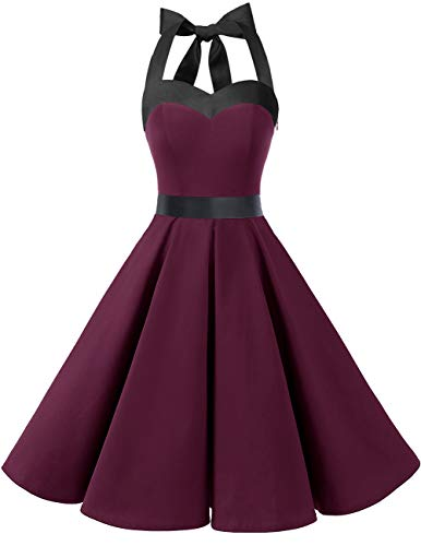 DRESSTELLS 50s Retro Halter Rockabilly Bridesmaid Audrey Dress Cocktail Dress Burgundy Black S -