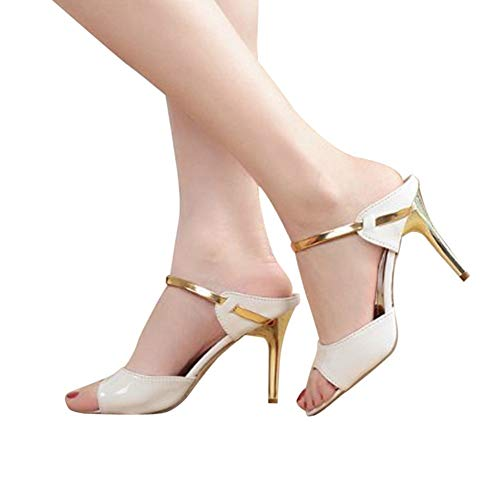 Women Peep Toe Pumps and Heels Slip On Stiletto Slingback Sandals for Lady Casual Party Dressy Shoes by Lowprofile White