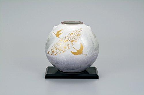 "Japanese drawn Ceramic Porcelain kutani ware. Japanese Ikebana flower vase with a stand. Gold moon and crane."" Japanese ceramic Hagiyakiya 1039"