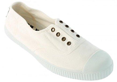 Victoria Womens Canvas Inglesa Elastico Fashion Sneakers Made In Spain Blanco