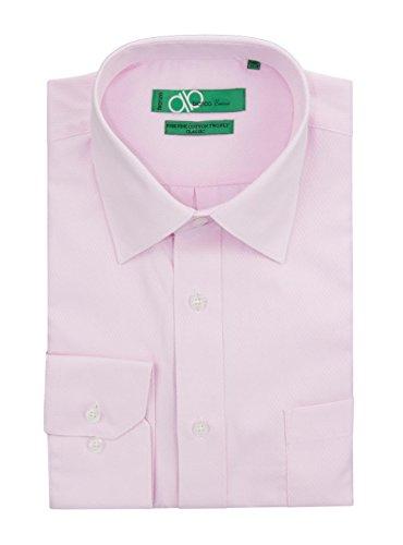 "Bianco B Men's Classic Fit Tone On Tone Diamond 2 Ply Pure Cotton Dress Shirt (15"" Neck 34-35 Sleeve, Lt Pink)"