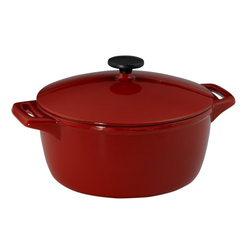 (Tramontina 80131/003 Gourmet 6-1/2-Quart Cast-Iron Covered Casserole, Vibrant Red)