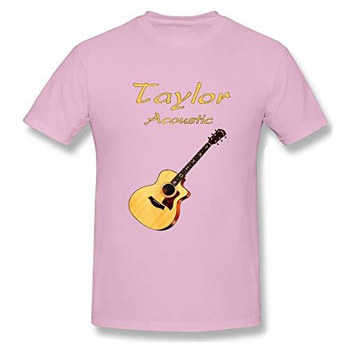 Men's Basic Short Sleeve T-Shirt Taylor Acoustic Guitars Tee Pink